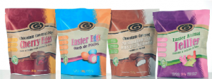 EASTER EGGS STAND OUT IN RENEWABLE, COMPOSTABLE STAND UP POUCHES