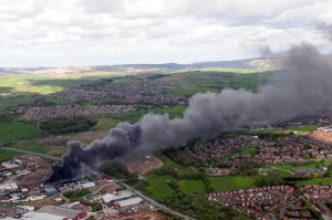 Arsonists blamed for huge fire at plastics warehouse in Oldham
