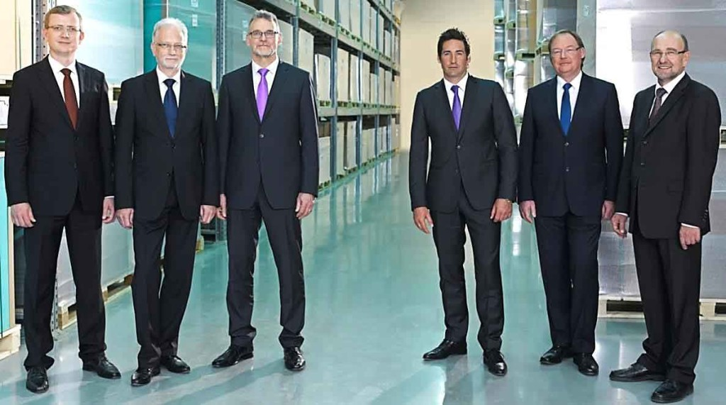 Managing Directors of the RAMPF Group's five core companies (from left to right): Martin Neumann and Dr.-Ing. Utz-Volker Jackisch (RAMPF Machine Systems), Bernd Faller (RAMPF Production Systems), Matthias Rampf (RAMPF Eco Solutions), Dr. Klaus Schamel (RAMPF Polymer Solutions), and Heinz Horbanski (RAMPF Tooling Solutions)