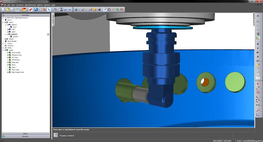 Delcam's latest FeatureCAM supports right-angle heads and multiple roughing tools