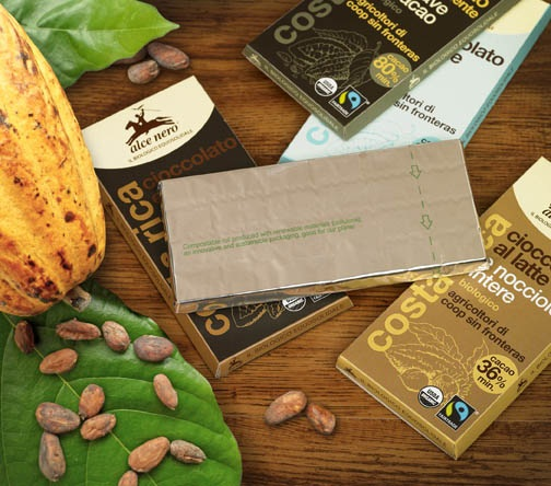 CHOCOLATE WRAPPED IN COMPOSTABLE PACKAGING FILM