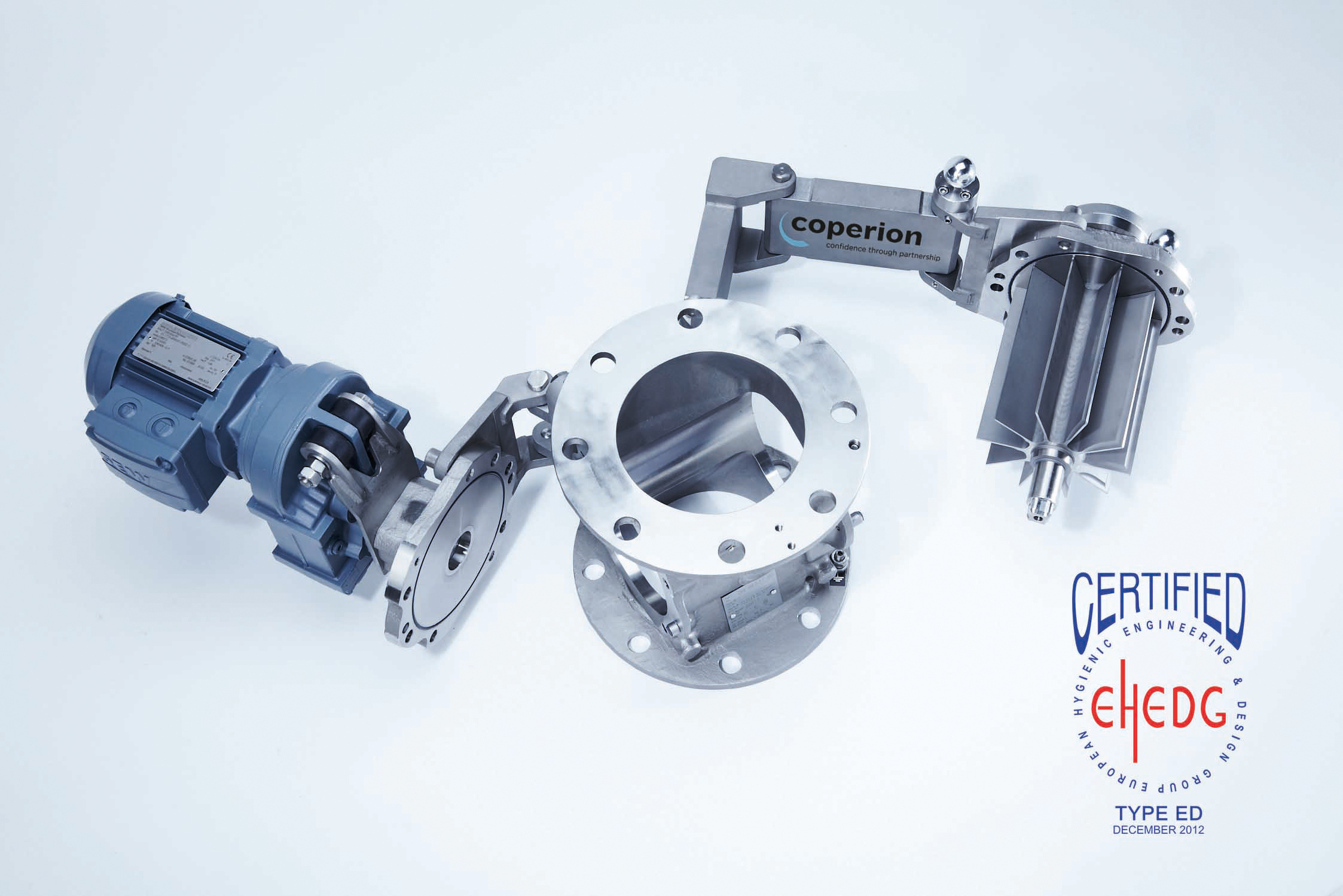 the first rotary valves in the world that are certified by EHEDG for dry cleaning